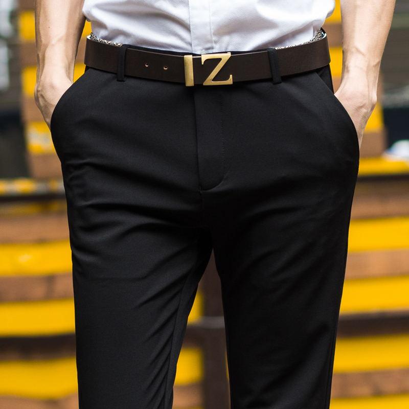 西服裤子男修身小脚裤青年西装裤商务正装上班休闲黑色西裤春秋款